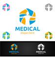cross medical hospital logo for emergency clinic vector image vector image