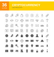 cryptocurrency line web glyph icons vector image