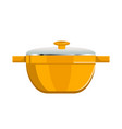 deep saucepan with glass cover and yellow corpus vector image
