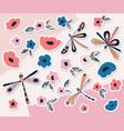 dragonfly sticker collection vector image