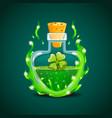elixir bottle with clover in magic smoke vector image vector image