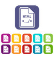 file html icons set vector image vector image