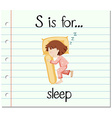 Flashcard letter S is for sleep vector image vector image