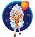 funny sheep for the zodiac sign of Cancer vector image vector image