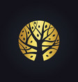 Gold tree decoration logo vector image