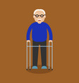 grandpa standing full length with paddle walker vector image vector image