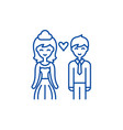 happy newlyweds line icon concept happy newlyweds vector image