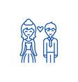 happy newlyweds line icon concept happy newlyweds vector image vector image