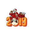 hungry santa claus eating new year 2019 vector image vector image