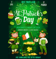 leprechauns with beer shamrock patrick day party vector image vector image