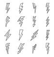 lightning bolt power icons set outline style vector image