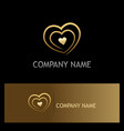 love heart gold logo vector image vector image