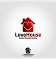 love house logo - lovely family live place vector image