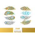 metallic temporary tattoos gold silver ethnic vector image