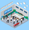 office party isometric composition vector image vector image