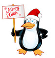 pinguin santa claus with merry christmas vector image