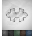puzzle icon Hand drawn vector image vector image