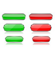 red and green glass 3d buttons with chrome frame vector image vector image