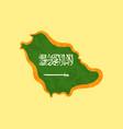 saudi arabia - map colored with saudi arabian flag vector image