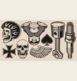 set for biker theme vector image vector image