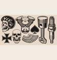 set for biker theme vector image vector image