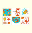 set of colorful cards with seashells vector image vector image