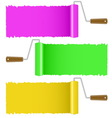 Set of colorful paint roller brush vector image