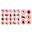 set prohibited insect isolated vector image vector image