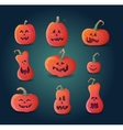 set terrible pumpkins on a dark background vector image