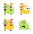 Slim women doing sports exercises Collection of vector image