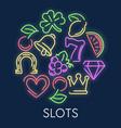 slot machine casino gambling games neon symbols vector image vector image