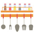 spices in bottles and cutlery kitchen vector image