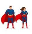 Superhero Couple of Flat Superman and Superwoman