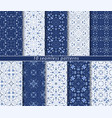 ten classic seamless blue patterns vector image vector image