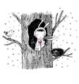 The story about a bunny tree and bird vector image vector image