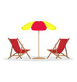 two beach beds with sun umbrella vector image vector image