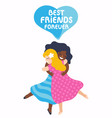two best friends girls huging vector image vector image