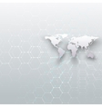 White world map connecting lines and dots on gray vector image