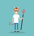 young character wearing devil elements horns tail vector image vector image