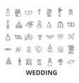 wedding invitation bride couple rings cake vector image