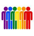 lgbt movement rainbow flag six men vector image