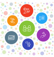 7 holding icons vector image vector image