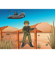 A brave soldier in the battlefield vector image vector image