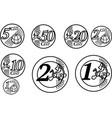 all european union euro coins vector image vector image