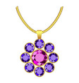 amethyst flower jewelry icon realistic style vector image