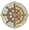 banner with ship helm wind rose and old vector image