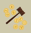 bit coin crypto currency legal aspect regulation vector image vector image