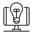 blog bulb idea icon outline style vector image