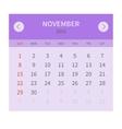 Calendar monthly november 2015 in flat design vector image vector image
