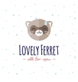 cartoon ferret head logo Flat logotype vector image vector image